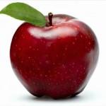 Pomme rouge traitée enduite de cire