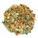 Tisane: feuilles d'olivier, gingembre, citron et mélisse